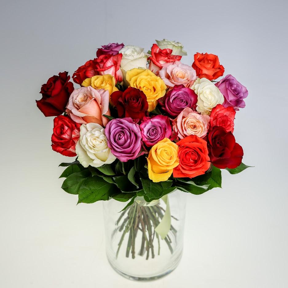 Kytica mix ruží s mašľou
