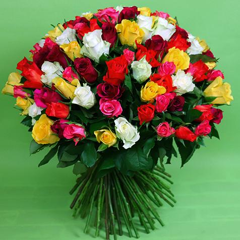 Kytica farebných ruží Klasik od 25ks 50cm