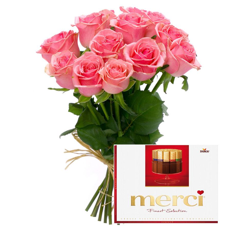 Kytica 9ks ružových ruží a Merci bonboniéra