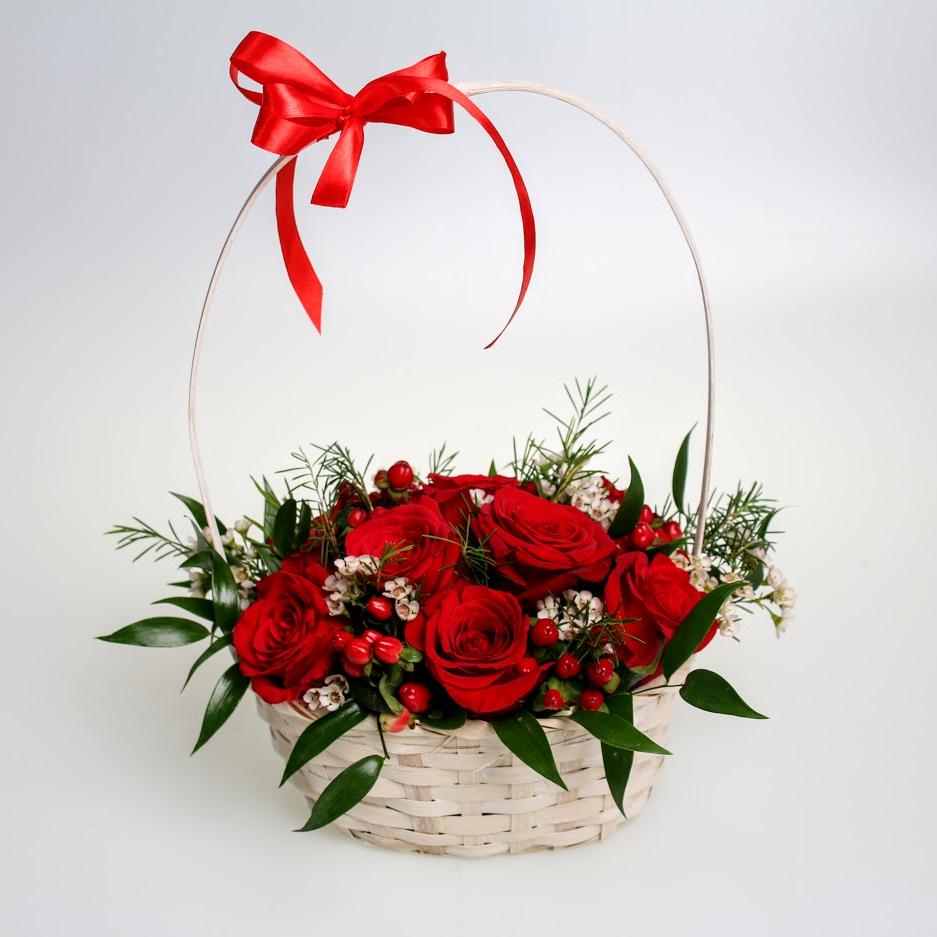 Košík červených ruží L lux
