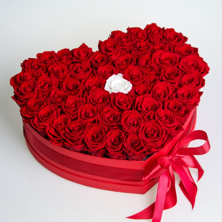 Box stabilizovaných ruží SRDCE od 35ks