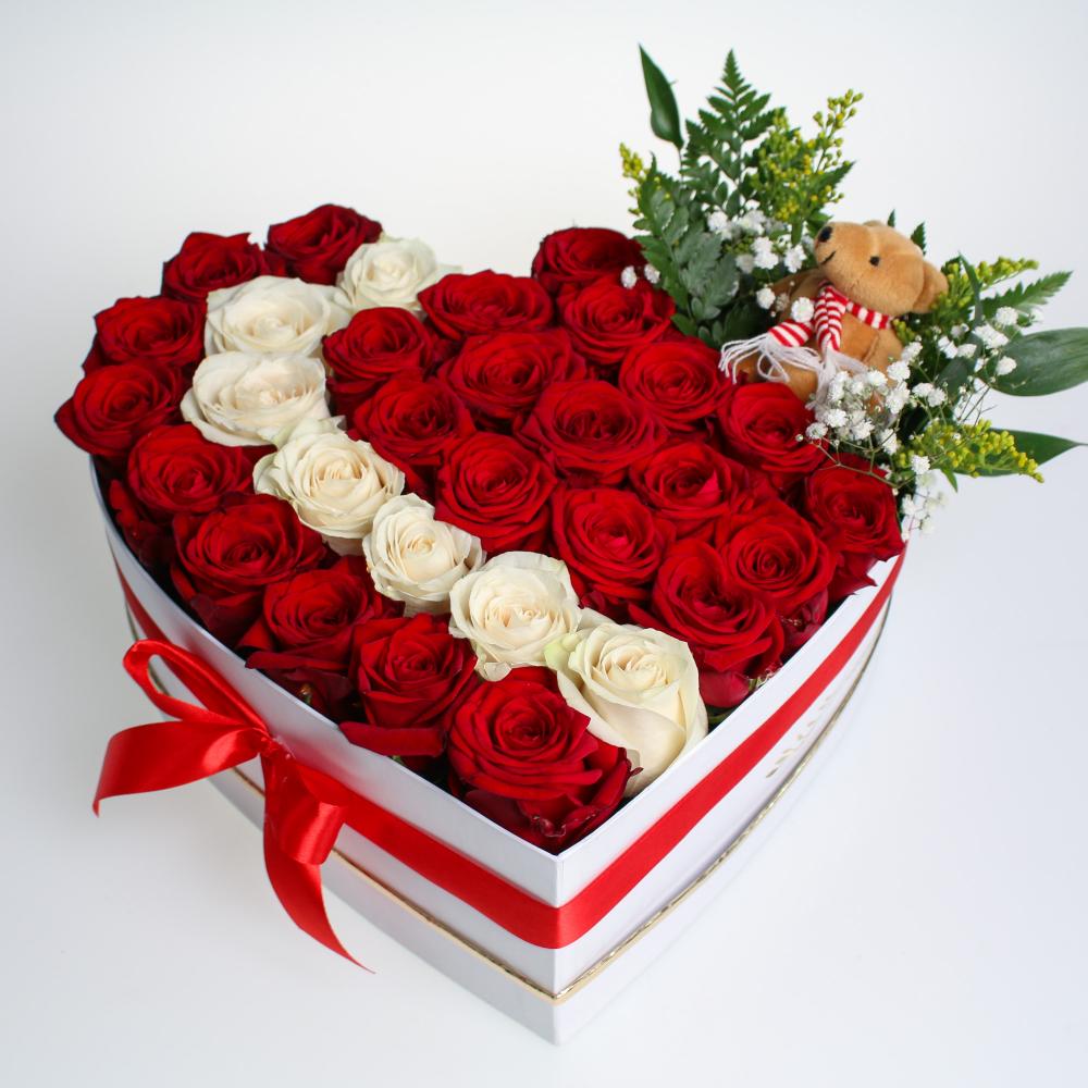 Srdiečko z ruží s macíkom XL 5