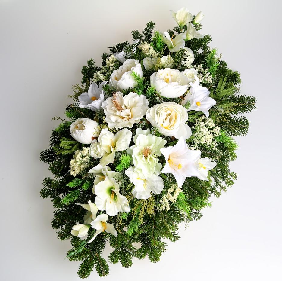 Veniec umelé kvety na živom základe