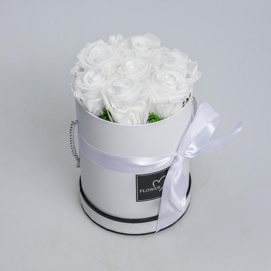 Box stabilizovaných ruží biely 7ks