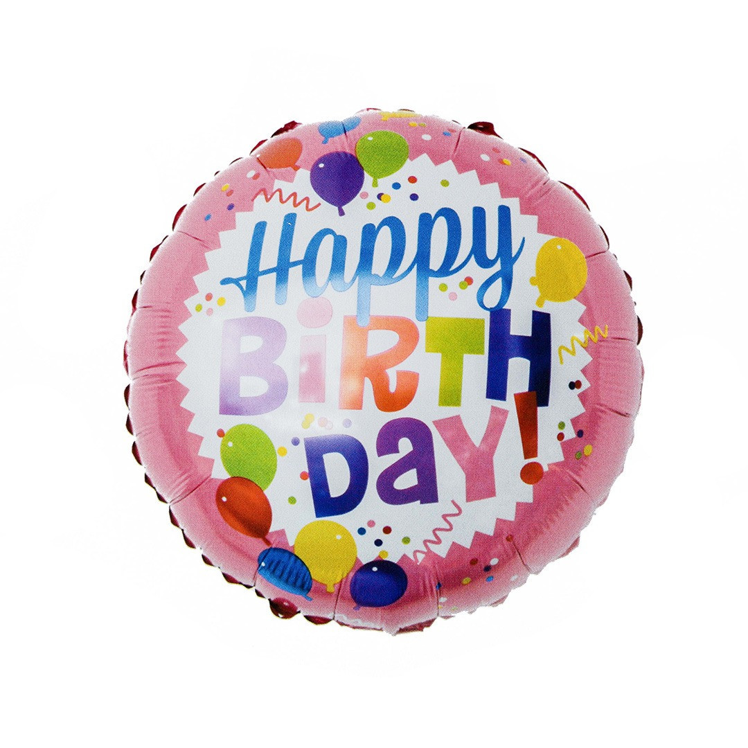 Balón Happy Birthday ružový