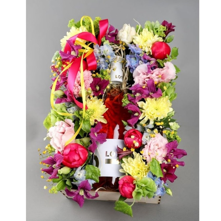 Kvetinový box s vínom Lót farebný