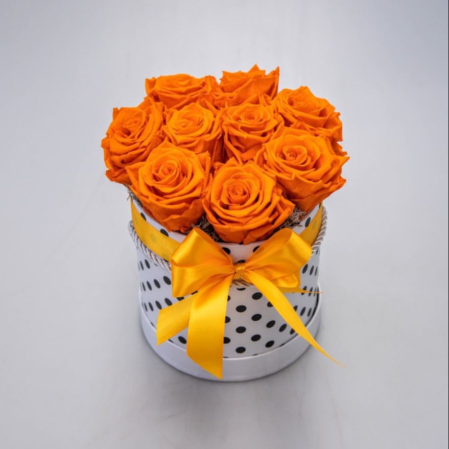 Trvácne ruže v boxe oranžové XL