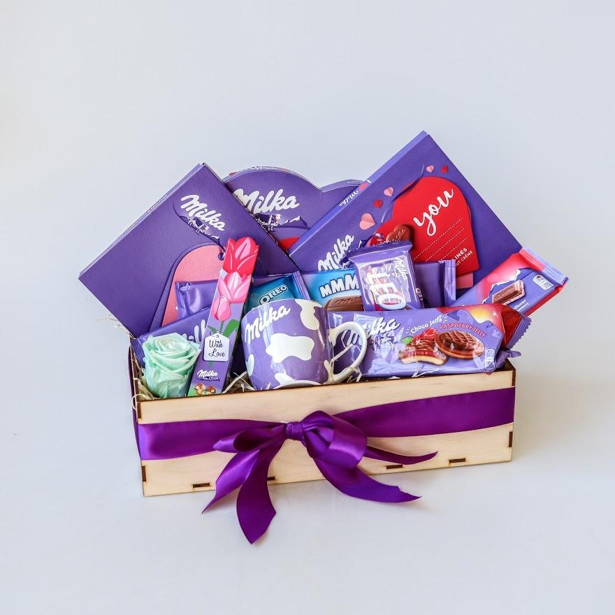 Darčekový košík fialové pokušenie Milka