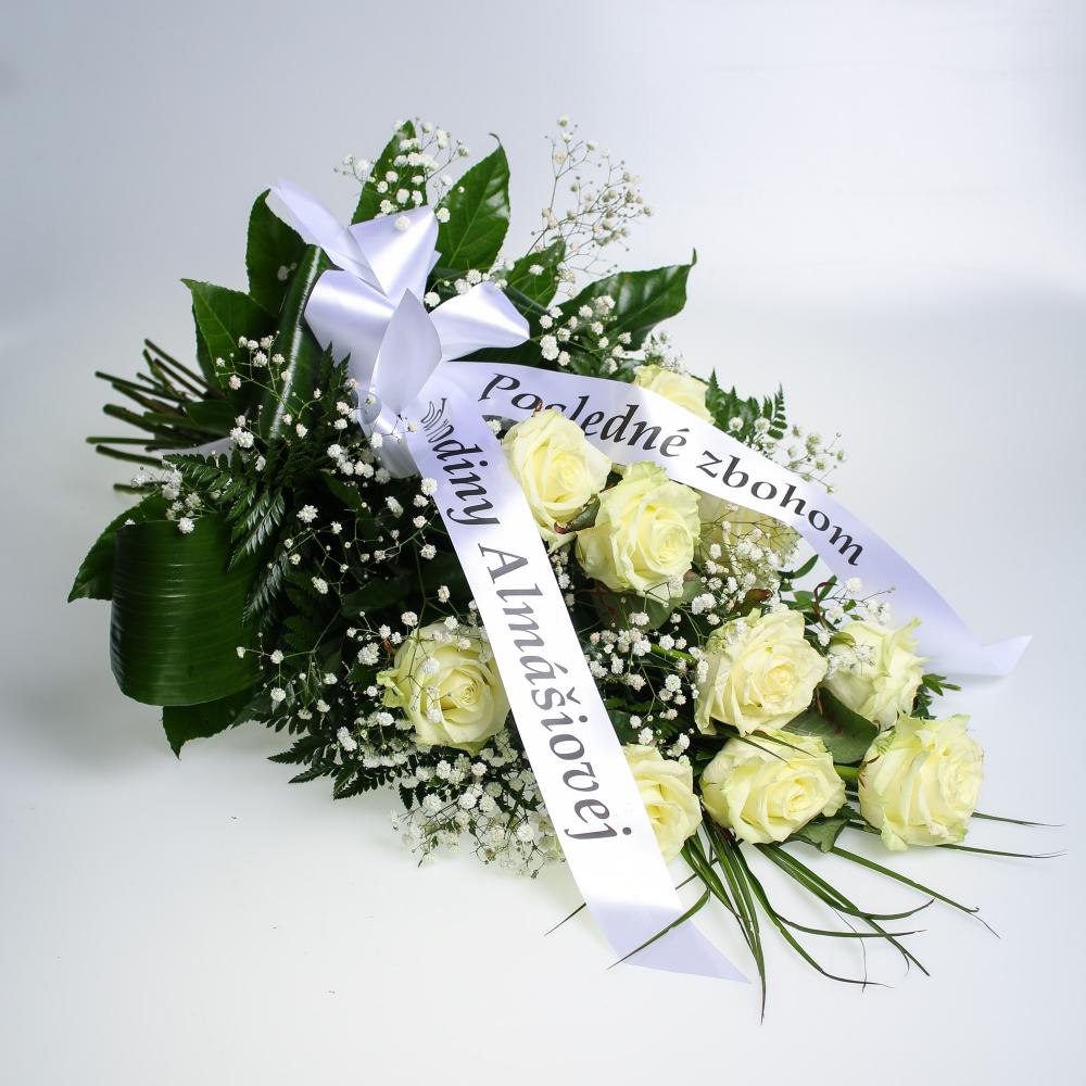 Smútočná kytica biele ruže