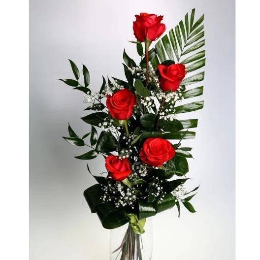 5 červených ruží s dekoráciou