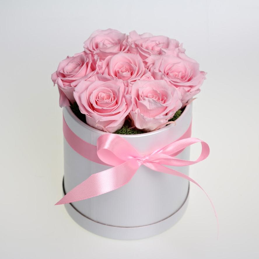 Box stabilizovaných ruží 7ks ružový