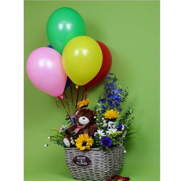 Kvetinový kôš Bear basket + balóny