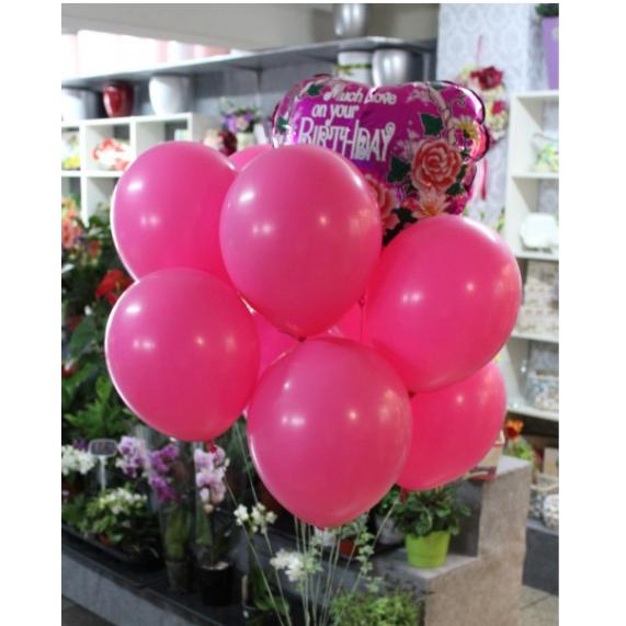 Balónová kytica ružová Happy Birthday